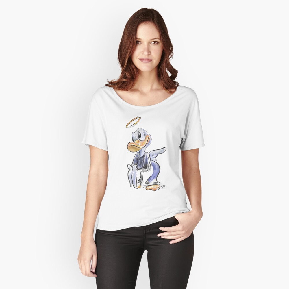 Charcoal and Oil - Angel Donald Duck Women's Relaxed Fit T-Shirt Front