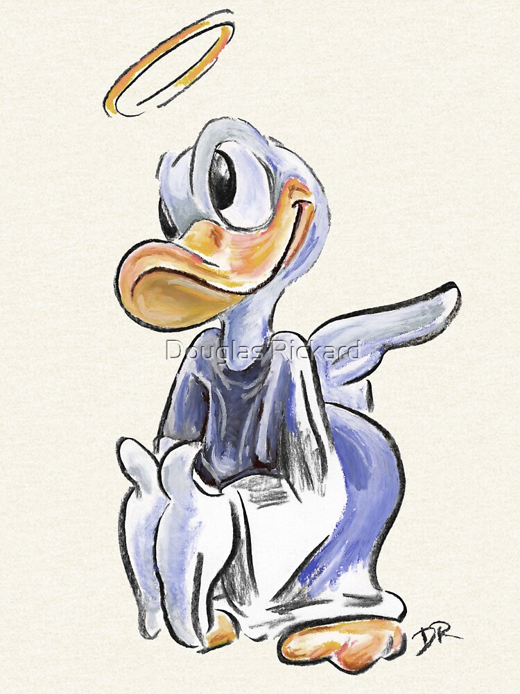 Charcoal and Oil - Angel Donald Duck by douglasrickard