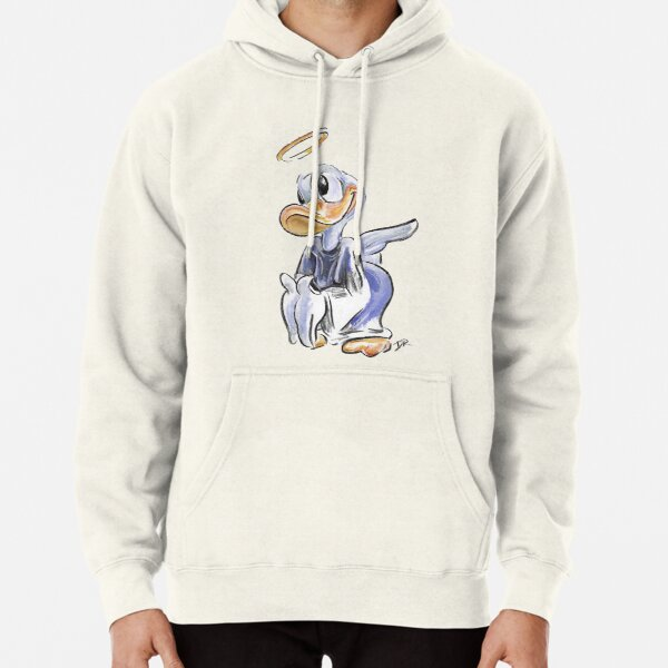 Charcoal and Oil - Angel Donald Duck Pullover Hoodie