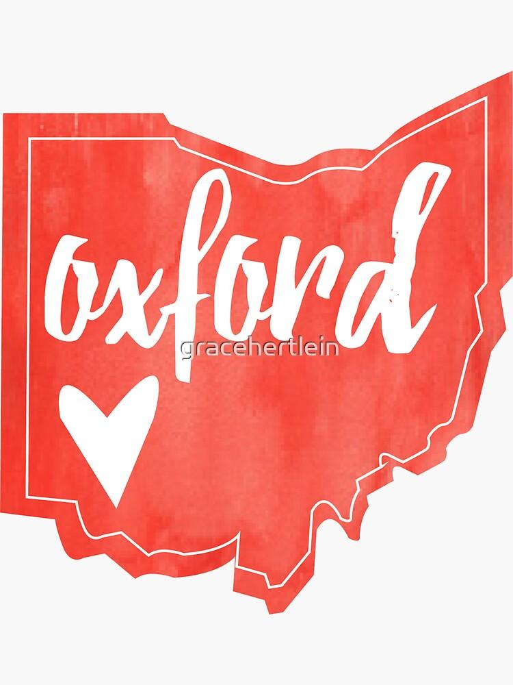 Oxford - Miami, Ohio - Corazón de acuarela de Ohio de gracehertlein