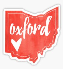 Oxford - Miami, Ohio - Watercolor Ohio Heart Sticker