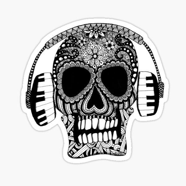 Skull With Headphones Black and White Doodle Art Sticker