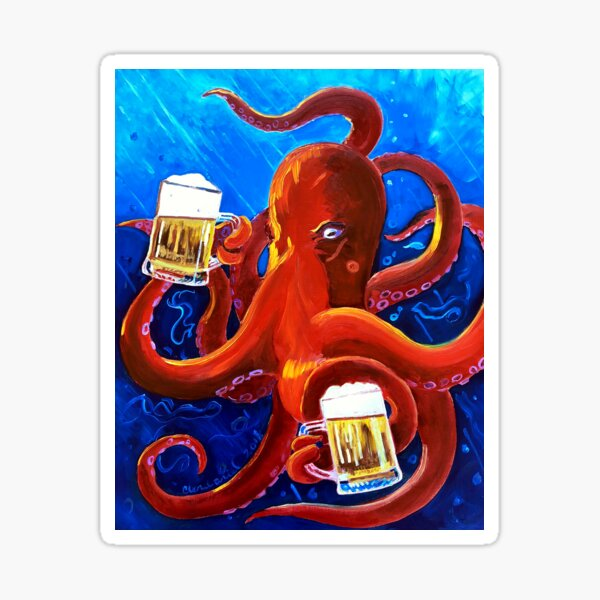 Octopus Painting, Red Octopus Drinking Beer, Animals and Beer, Octopus Art, Dining Room Painting, Funny Beer Poster, Man Cave Bar Beer Decor Sticker