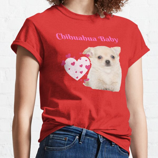 Pink Chihuahua Baby with Lt Pink Heart and Tiny Dark Hearts Classic T-Shirt