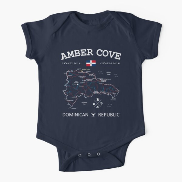 Dominican Republic Flag Travel Map Amber Cove Coordinates Roads Rivers and Oceans White Short Sleeve Baby One-Piece