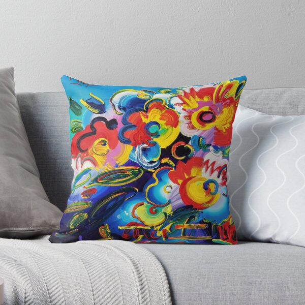 PETER MAX FLOWER VASE OIL CANVAS PAINTING - HIGH RESOLUTION Throw Pillow