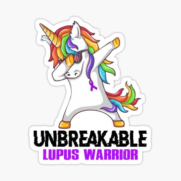 Unicorn Dabbing Unbreakable Lupus Warrior Sticker