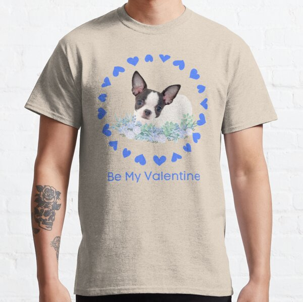 Blue Be My Valentine Circle of Blue Hearts with Black and White Chi Pup Classic T-Shirt
