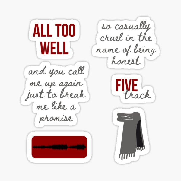 All Too Well Sticker Pack - Taylor Swift RED Sticker