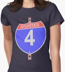 Interstate highway 4 road sign Womens Fitted T-Shirt