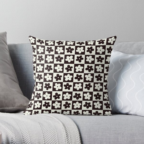 Black and Off white Checkered Squares with Flowers Throw Pillow