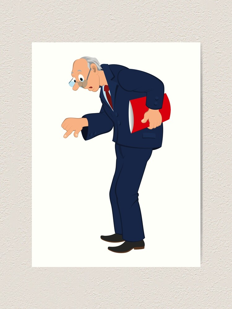 Cartoon Old Man In Blue Jacket And Tie Looking Down Art Print By Zebar Finch Redbubble