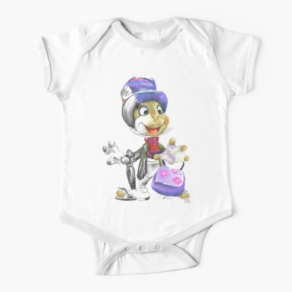 Charcoal and Oil - Jiminy Cricket Short Sleeve Baby One-Piece