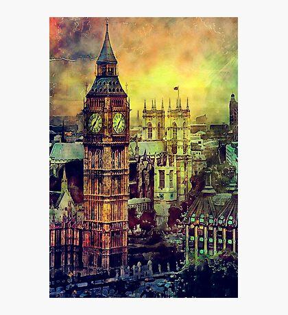 London BigBen Watercolor Photographic Print