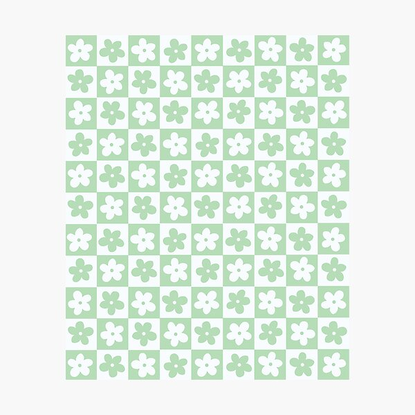 Light Pastel Green and White Checkered Squares with Flowers Photographic Print