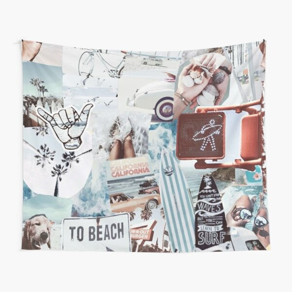 Vsco blue waves collage Tapestry