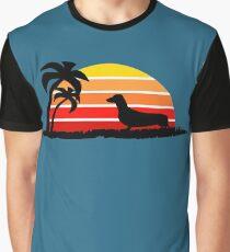 Dachshund on Sunset Beach Graphic T-Shirt