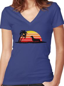 Dachshund on Sunset Beach Women's Fitted V-Neck T-Shirt
