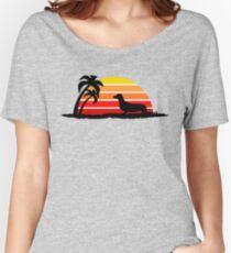 Dachshund on Sunset Beach Women's Relaxed Fit T-Shirt
