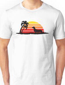 Dachshund on Sunset Beach Unisex T-Shirt
