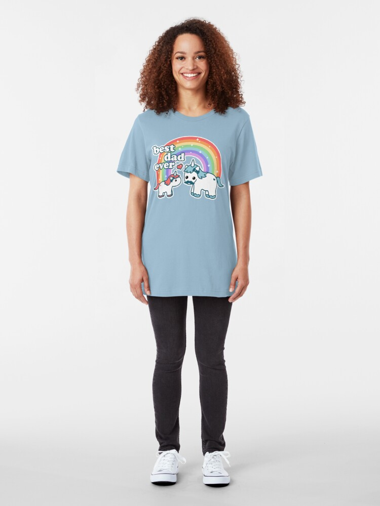 Alternative Ansicht von Bester Einhorn-Vati Slim Fit T-Shirt