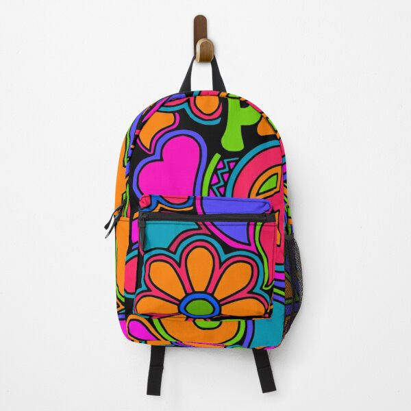 Fun and Funky Flower Power Peace and Love Hippy Art Backpack
