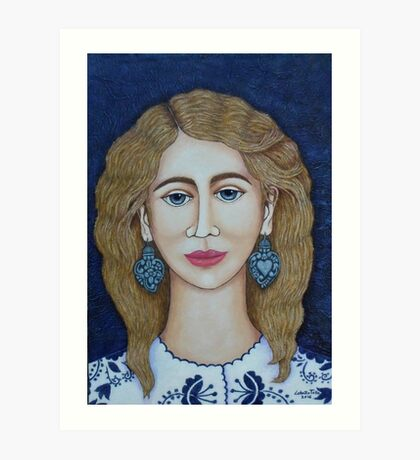 Woman with silver earrings Art Print