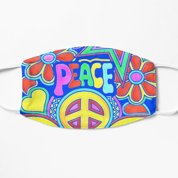 Peace and love Flower Power Hippy Design Flat Mask