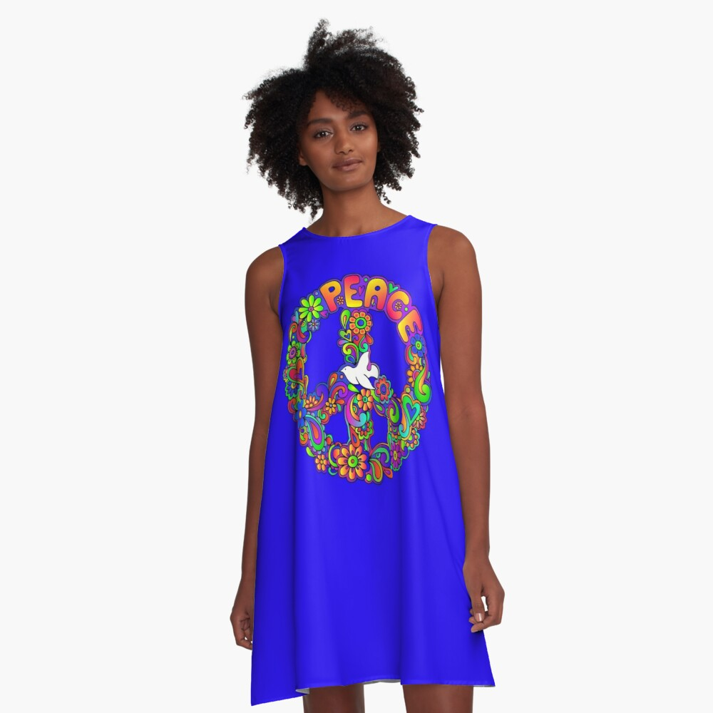 Flower Power Retro Hippie Peace Symbol A-Line Dress