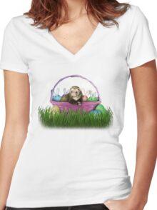 Easter Ferret Women's Fitted V-Neck T-Shirt