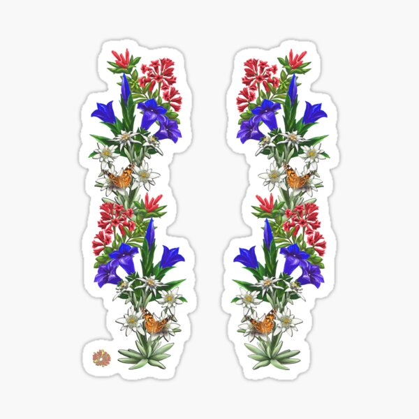 FLORAL ~ FOLKART ~ Alpenrose Enzian and Edelweiss with Butterfly for Zipped Hoodies by tasmanianartist 05012021 Sticker