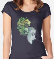 Obey Me (flower girl portrait, spray paint graffiti painting) Women's Fitted Scoop T-Shirt