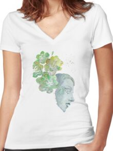 Obey Me - girl with flowers Women's Fitted V-Neck T-Shirt
