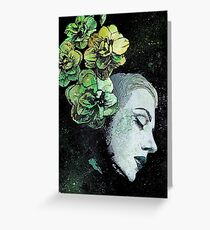 Obey Me - girl with flowers Greeting Card
