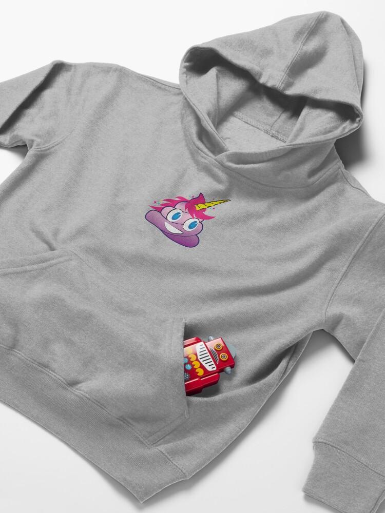 Alternate view of Sparkles the Unicorn Poop Emoji Kids Pullover Hoodie