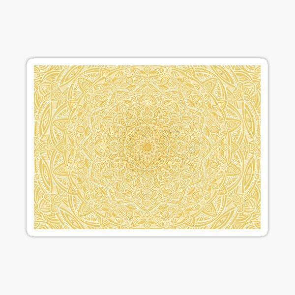 Most Detailed Mandala! (Pale Mustard Yellow) Intricate Detail Ethnic Contrast Mandala Design Zentangle Maze Pattern Sticker