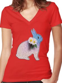 Bunny Rabbit Women's Fitted V-Neck T-Shirt