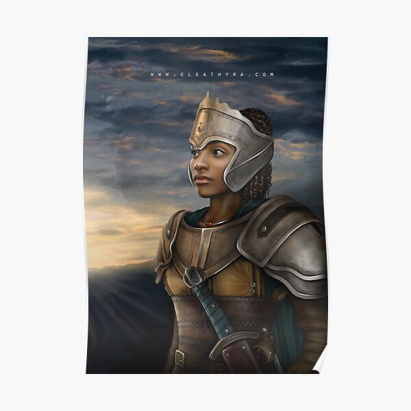 Female African American Warrior In Armor Original Art Digital Design Gift Idea For My Mom Mother Mum Mommy Mother's Day Daughter Black Women Woman Graduation Gift For Her Poster