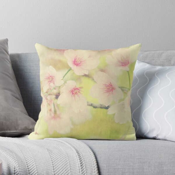 Dreamy Faded Vintage Pale Pink Sakura Cherry Blossoms Throw Pillow