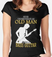 Never Underestimate An Old Man With A Bass Guitar Women's Fitted Scoop T-Shirt