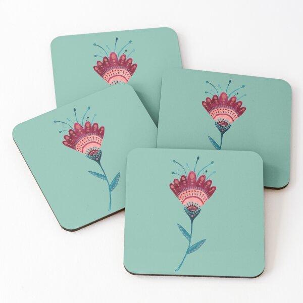 Folk Art Flower Coasters (Set of 4)