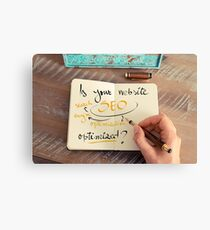 Handwritten text Is your Website SEO optimized ? Canvas Print