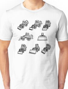 Bulldozer. Eight 3D projection vector. Unisex T-Shirt