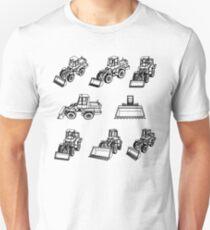Bulldozer. Eight 3D projection vector. T-Shirt