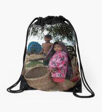 Family in Myanmar. Drawstring Bag