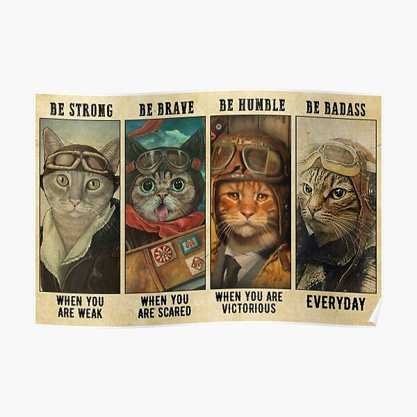 Sugar Skull Be Strong Be Brave Be Humble Be Badass Lover Cat Poster No Frame Poster