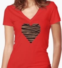 0509 Pastel Brown Tiger Women's Fitted V-Neck T-Shirt