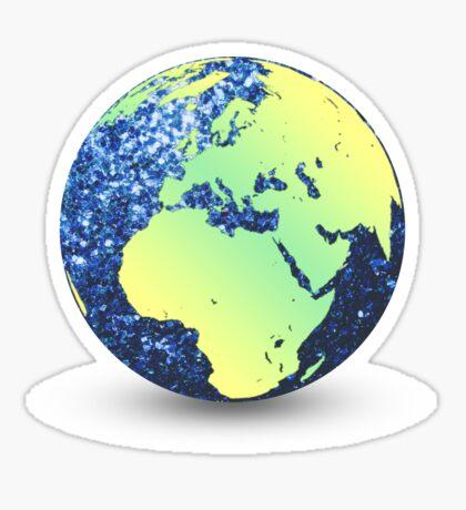 Earth Day Blue Sparkles Globe Sticker