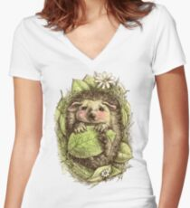 Little hedgehog colored Women's Fitted V-Neck T-Shirt