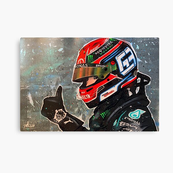 George Russell, Mercedes 2020 F1 graffiti painting by DRAutoArt Canvas Print